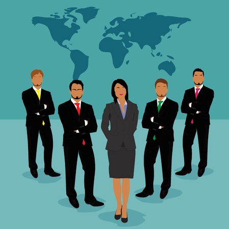 businesswoman standing: businessmen and businesswoman standing in front of world map, vector, illustration