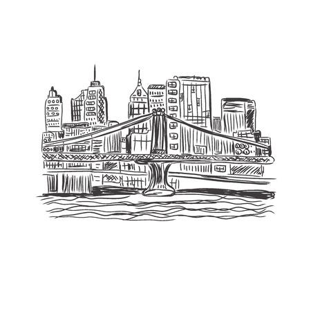 New York, city, sketch vector Çizim