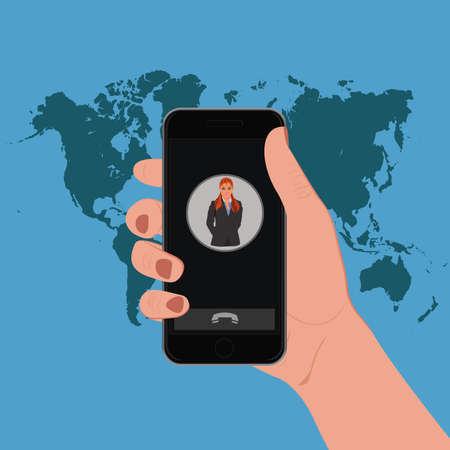 holding smart phone: Hand holding smart phone, vector illustration