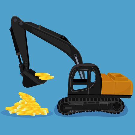 earthmover: excavator digging a heap of coins, vector illustration