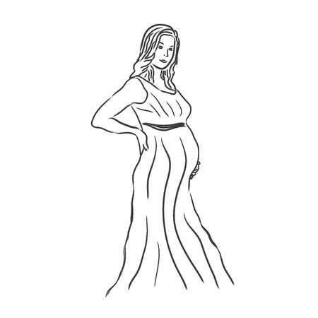 Pregnant woman, sketch, vector illustration