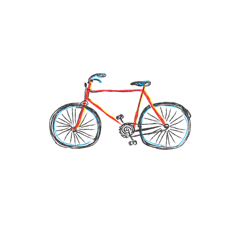 seventies: Bicycle, racing, bike, hand drawn, sketch, vector Illustration