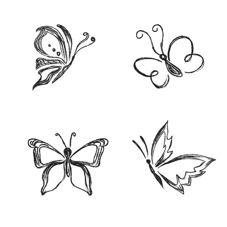 Beautiful, butterfly, vector, set, sketch style