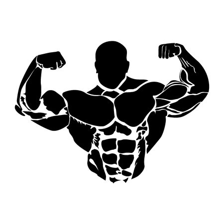 gym, fitness club, bodybuilding icon, vector