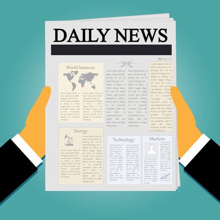 businessman holding newspaper in flat style, vector Çizim