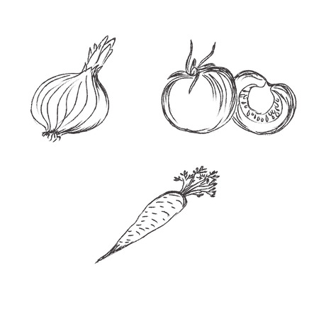 Doodles, sketch, vegetables