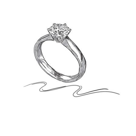 wedding ring, sketch, vector illustration  イラスト・ベクター素材