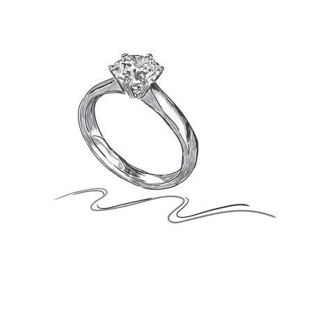 wedding ring, sketch, vector illustration Vettoriali