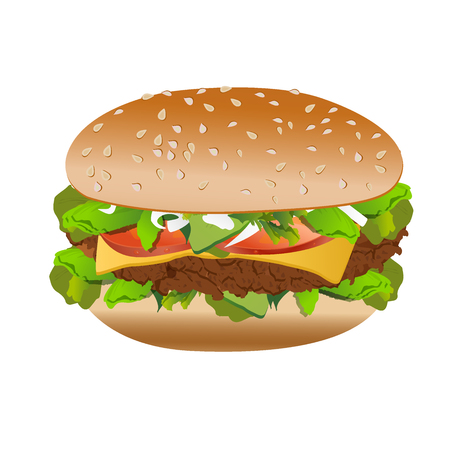 sesame seed: Cheeseburger, isolated on white background, vector Illustration