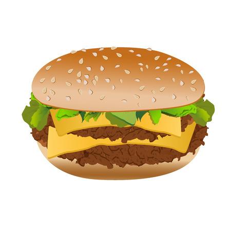 Cheeseburger, isolated on white background, vector Çizim