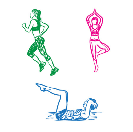 Woman engaged in sports, fitness, running, sketch, vector