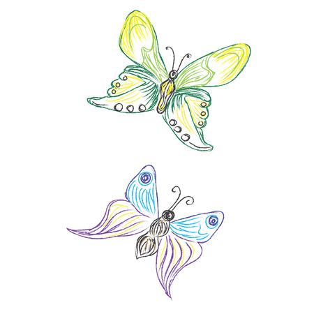 Beautiful, butterfly, vector, set, sketch style Stock fotó - 55212728