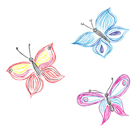 Beautiful, butterfly, vector, set, sketch style Stock fotó - 55212729