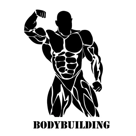Bodybuilding, power lifting, icon, black vector, flat