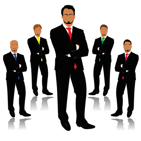 employing: businessman, silhouettes, business, people, team work, vector, flat, white background