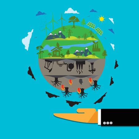 Las energías renovables frente a la energía tradicional, planeta en la mano en estilo plano Foto de archivo - 55212734