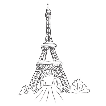 Eiffel, tower, Paris, France, sketch, white background, vector
