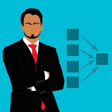 hand on chin: Businessman, standing, diagram, vector