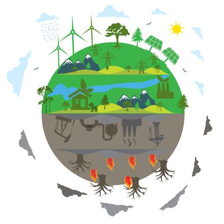 renewable energy versus traditional energy concept in flat design