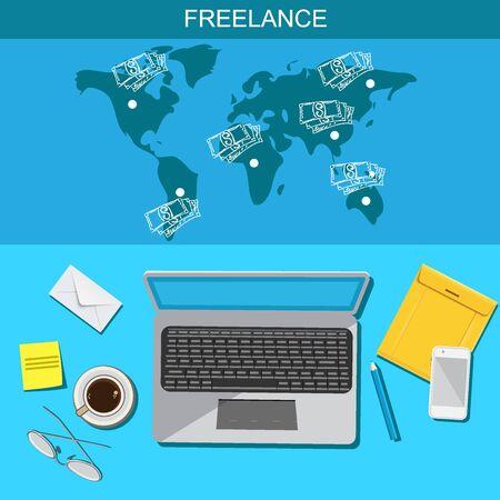 freelance: Freelance, infographic, template, vector, flat
