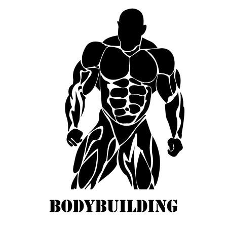 Bodybuilding, potenza di sollevamento, icona, nero vettore, piatta Vettoriali