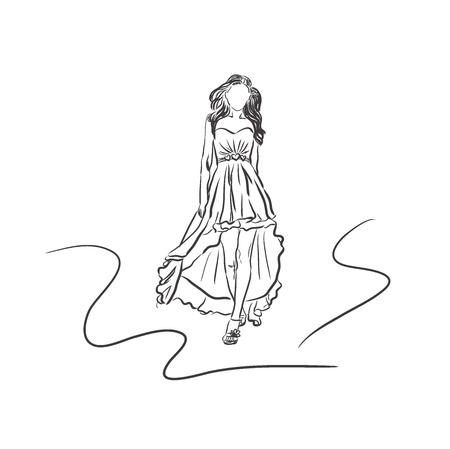 ferocious: fashion woman in sketch style, vector illustration Illustration