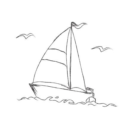 ベクトル図、スケッチ、ボート
