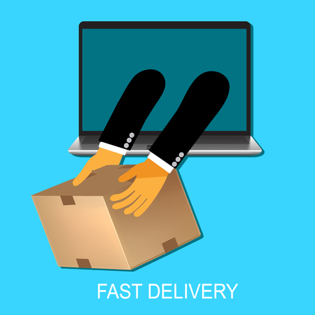 Delivery concept in flat style for web, vector, illustration