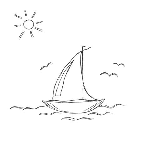 Vettore, illustrazione, abbozzato, barca