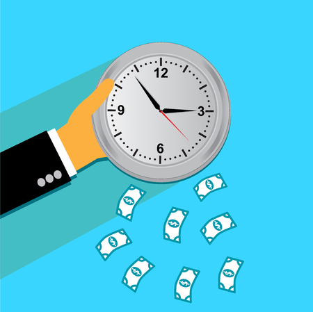 time is money, hand, clock, flat style for web