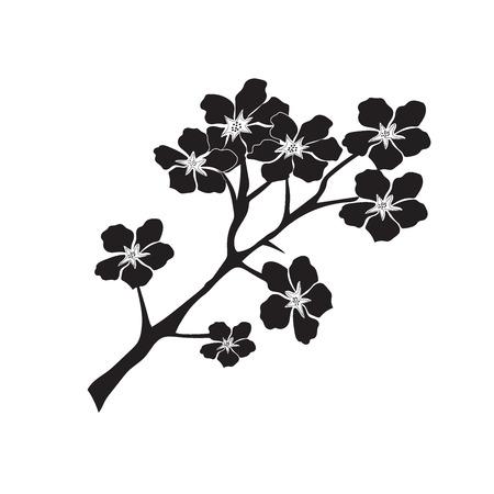 pruimen of kersenbloesem boom patroon, vector illustratie in vlakke stijl