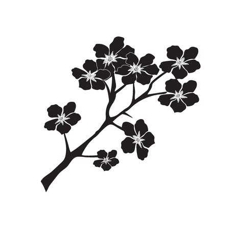 plum or cherry blossom tree pattern, vector illustration in flat style