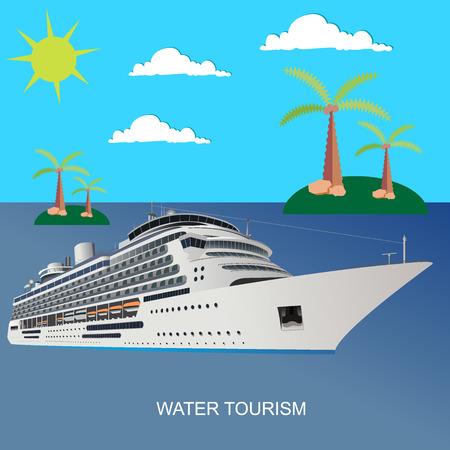 Crociera, nave, chiaro, blu, acqua, turismo, stile piatto, vettore