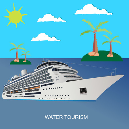 Cruise, ship, clear, blue, water, tourism, flat style, vector