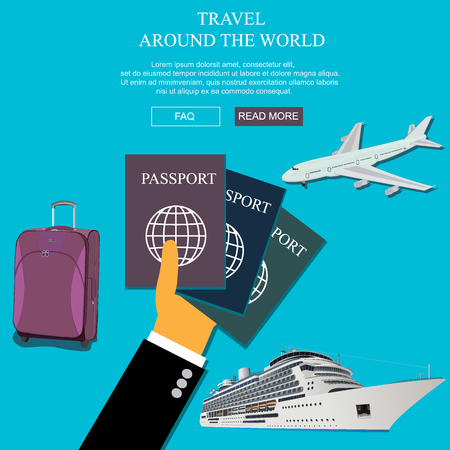 vocation: travel, vocation concept in flat style for web, vector