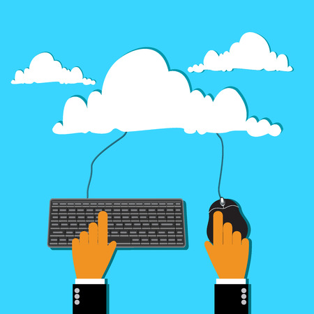 shared sharing: cloud computing concept in flat style for web