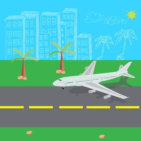 descending: Airplane, landing, vector, illustration