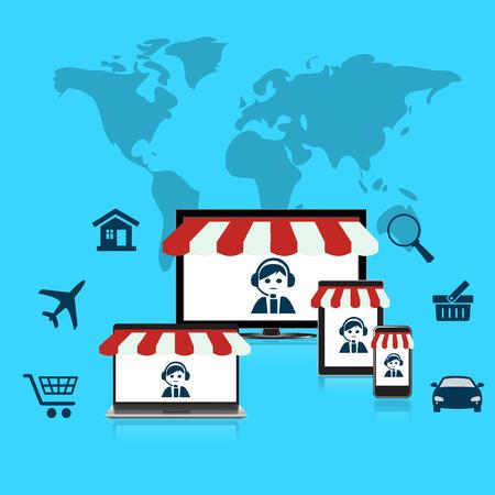 costumer: Concept, online, shop, e-commerce, flat, style, computer, mobile, phone, laptop