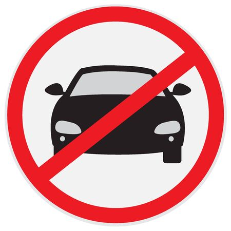 No, cars, parking, allowed, sign, vector, illustration