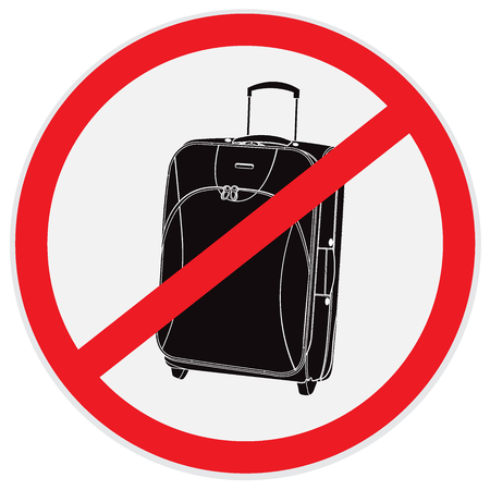 No, luggage, baggage, sign, vector, illustration
