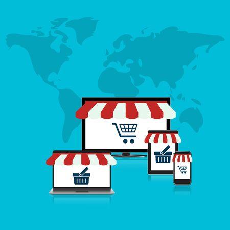 Concepto, en línea, tienda, comercio electrónico, plana, estilo, ordenador, móvil, teléfono, ordenador portátil, Foto de archivo - 55411930