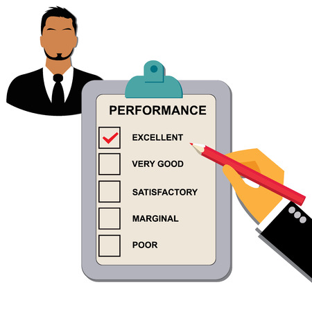 satisfactory: excellent, performance, clipboard, checklist Illustration