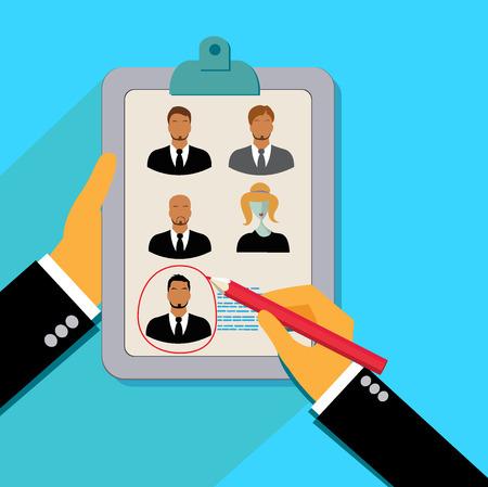 recruit: Vector, concept, human, resources, management, resume, cv Illustration
