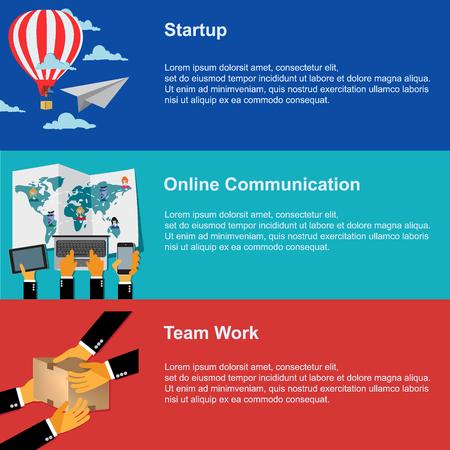 mobile app: srartup, online communication, team work, vector web design