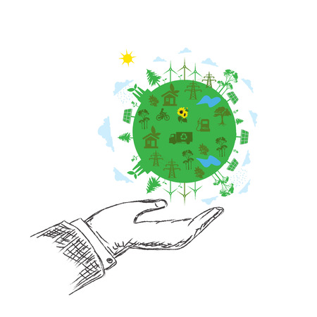 sustainable development: green planet concept, hands, sustainable development, vector, hand Illustration