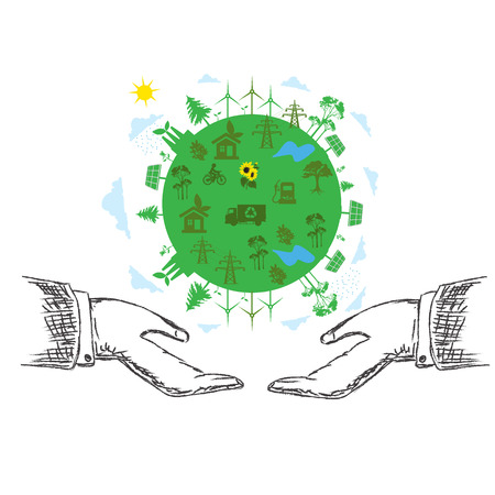 sustainable development: green planet concept, hands, sustainable development, vector