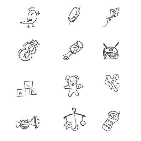 toys, icons, sketch, vector, illustration, set