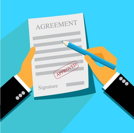 business, deal, agreement, paper, stamp, flat style Stok Fotoğraf - 55412136