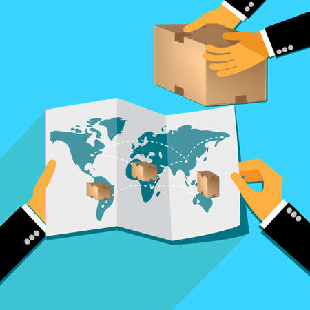 parcels: delivery concept, hands holding map with parcels Illustration