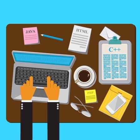 Programming, Coding, Flat, Concept, Vector, Illustration